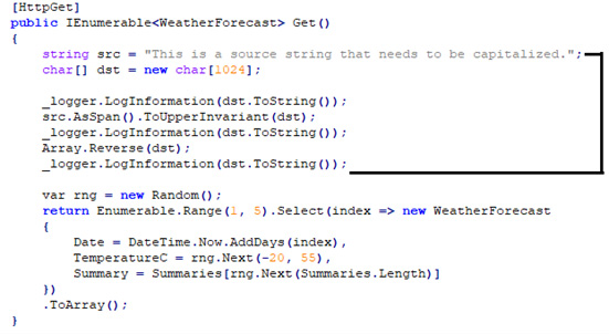 Figure 1.8 – Code fragment to change in the default Web API project