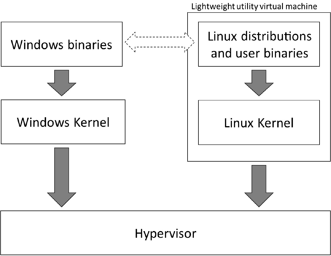 Figure 1.2 – Outline showing the WSL 2 architecture