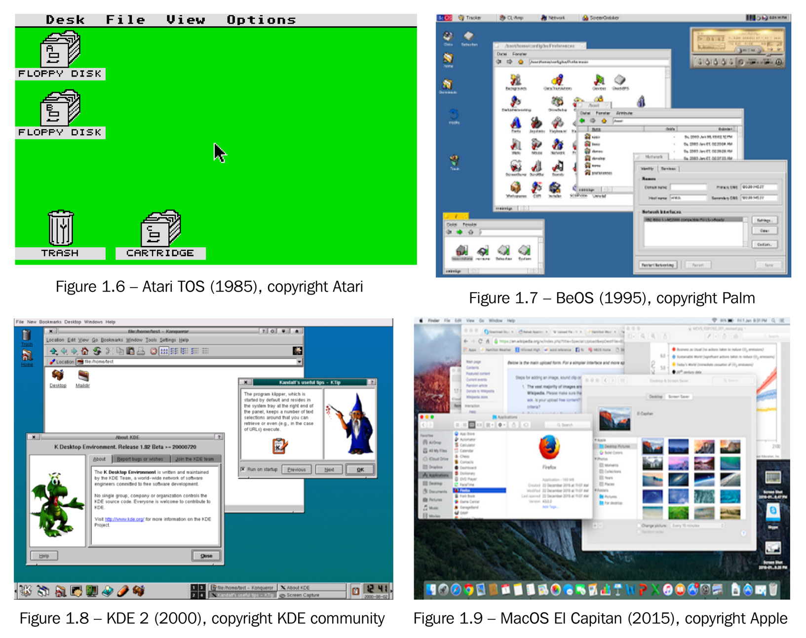 Desktop screenshots from various operating systems 1985-2015. Each image has been used with the required permission under fair use policies