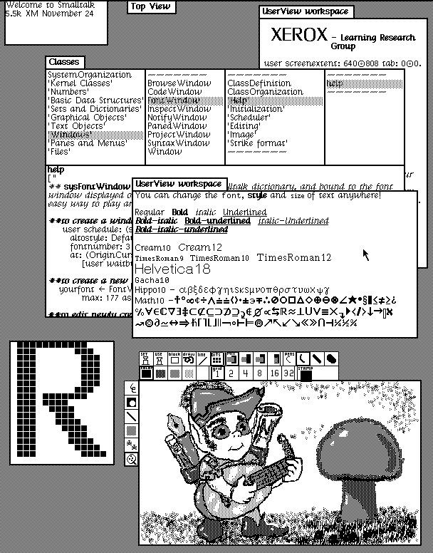 Figure 1.1 – Dynabook environment desktop (1976; Smalltalk-76 running on Alto). Copyright SUMIM.ST, licensed CC BY-SA 4.0