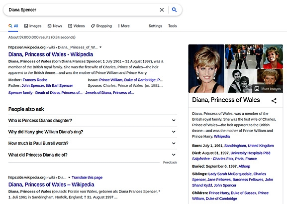 """Figure 1.3 – Search results for the query """"Diana Spencer"""""""