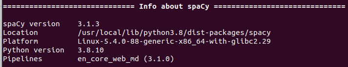 Figure 1.7 – An example spaCy version output
