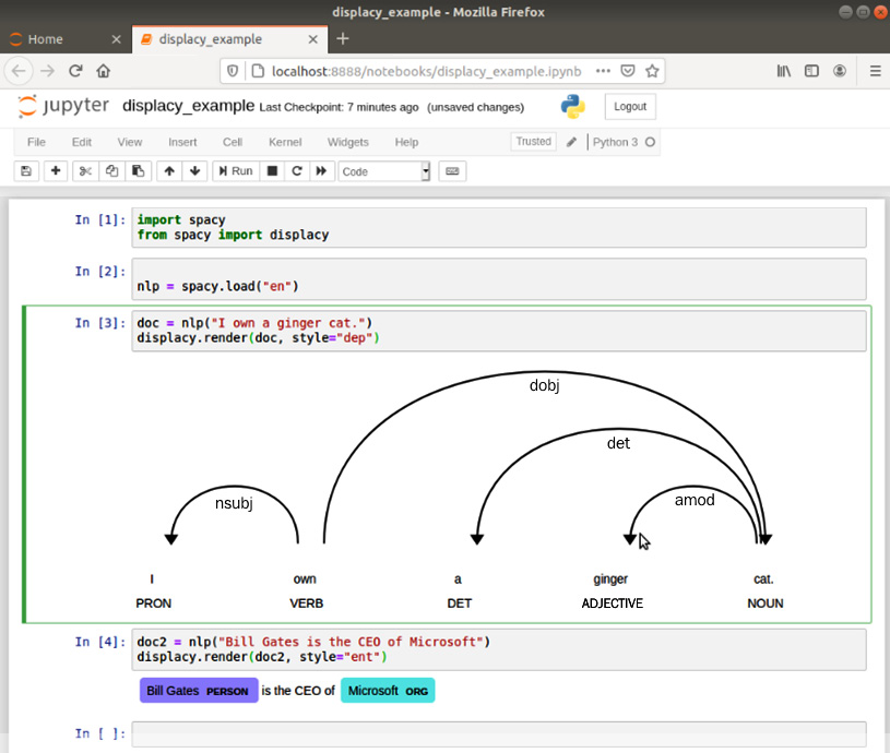 Figure 1.19 – displaCy rendering results in a Jupyter notebook