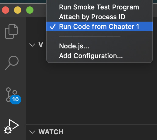 Figure 1.1 – Run Code from Chapter 1 option