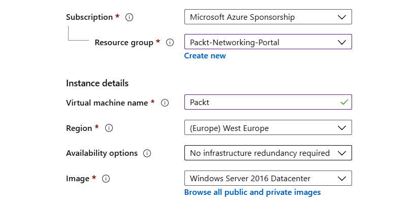 Adding instance details when creating a new virtual machine using the Azure portal