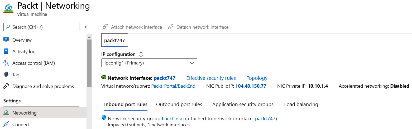 Reviewing the Networking settings in the Virtual machine pane