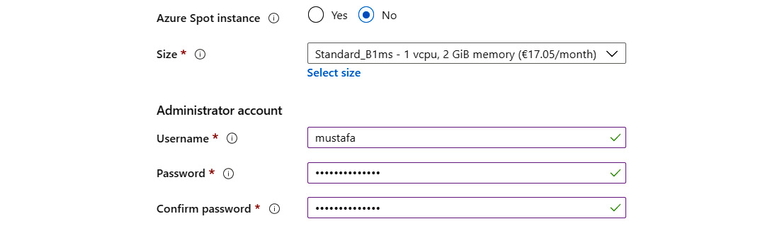 Clicking on the radio button to configure an Azure Spot instance