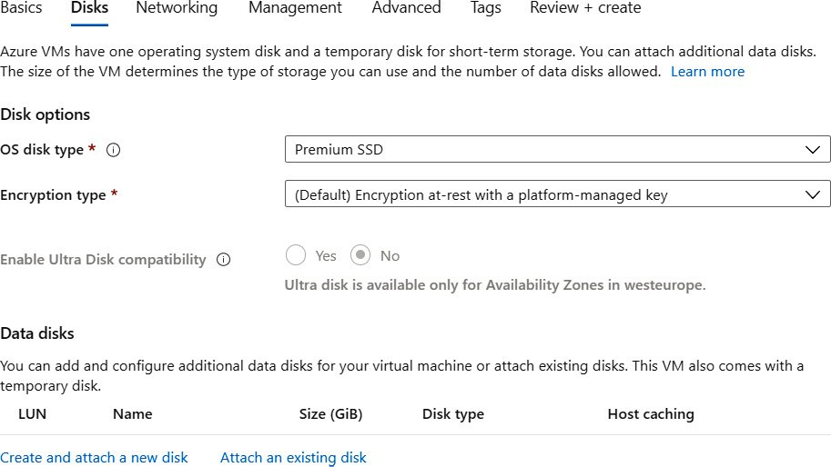 Selecting the OS disk type from the drop-down menu