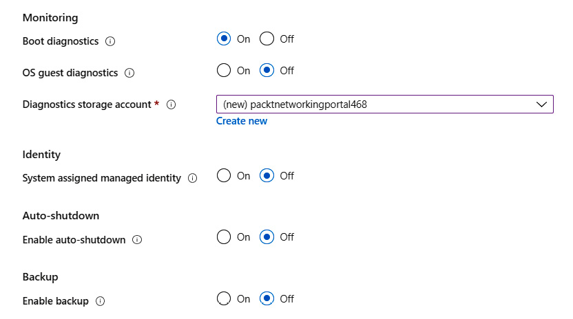 Setting up the Monitoring and Identity settings under the Management section