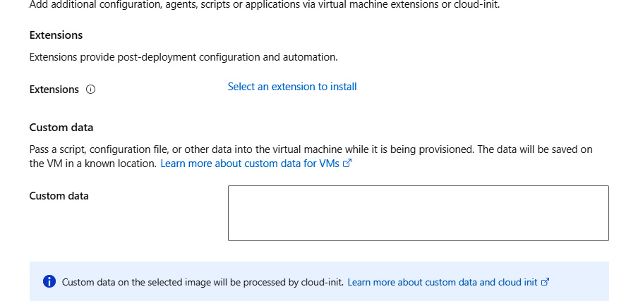 Configuring Advanced options for post-deployment configuration and automation