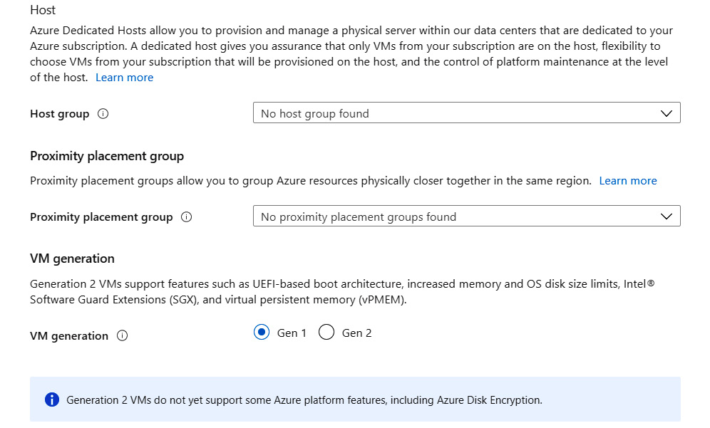 Selecting the host group, proximity placement group, and virtual machine generation under Advanced options