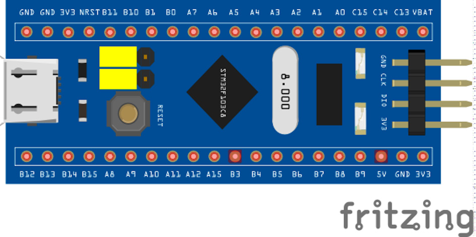 Figure 2.2 – The Blue Pill's pins configuration