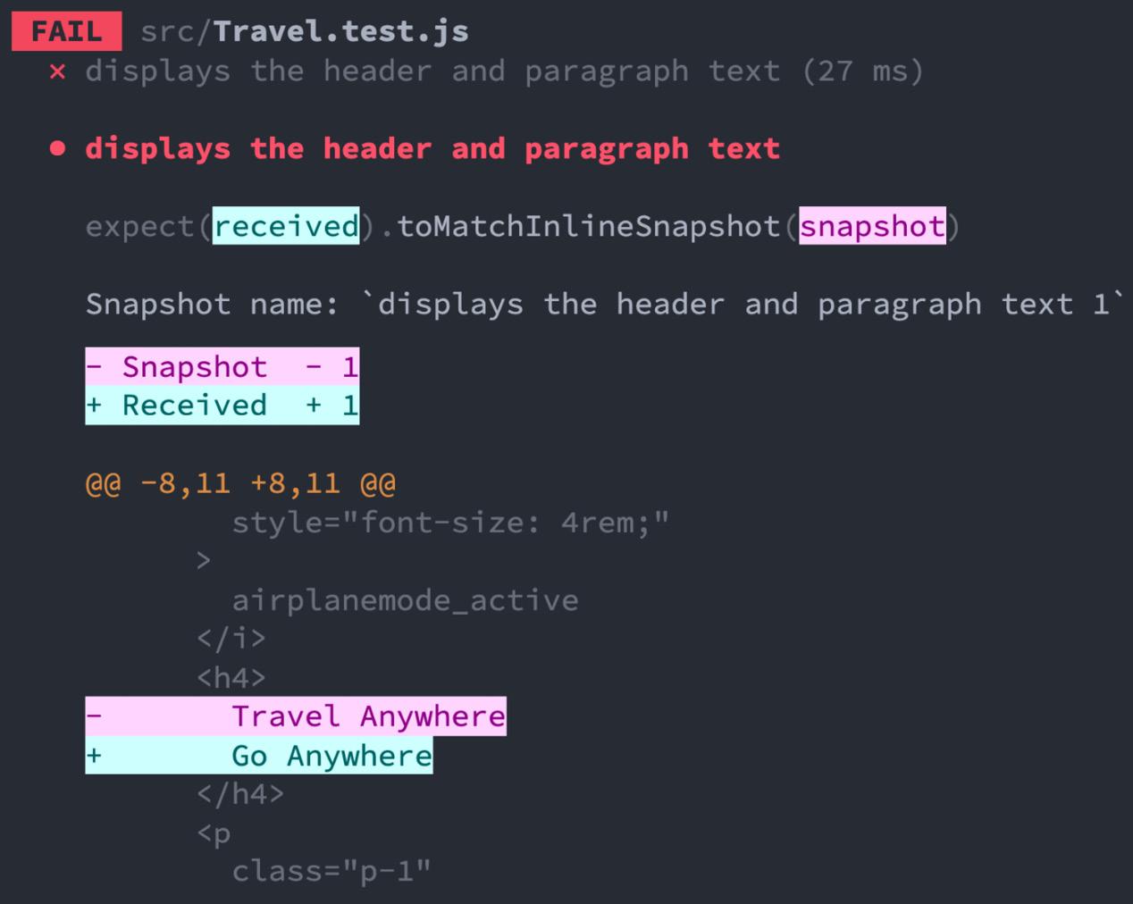 Figure 2.4 – Failed travel snapshot test