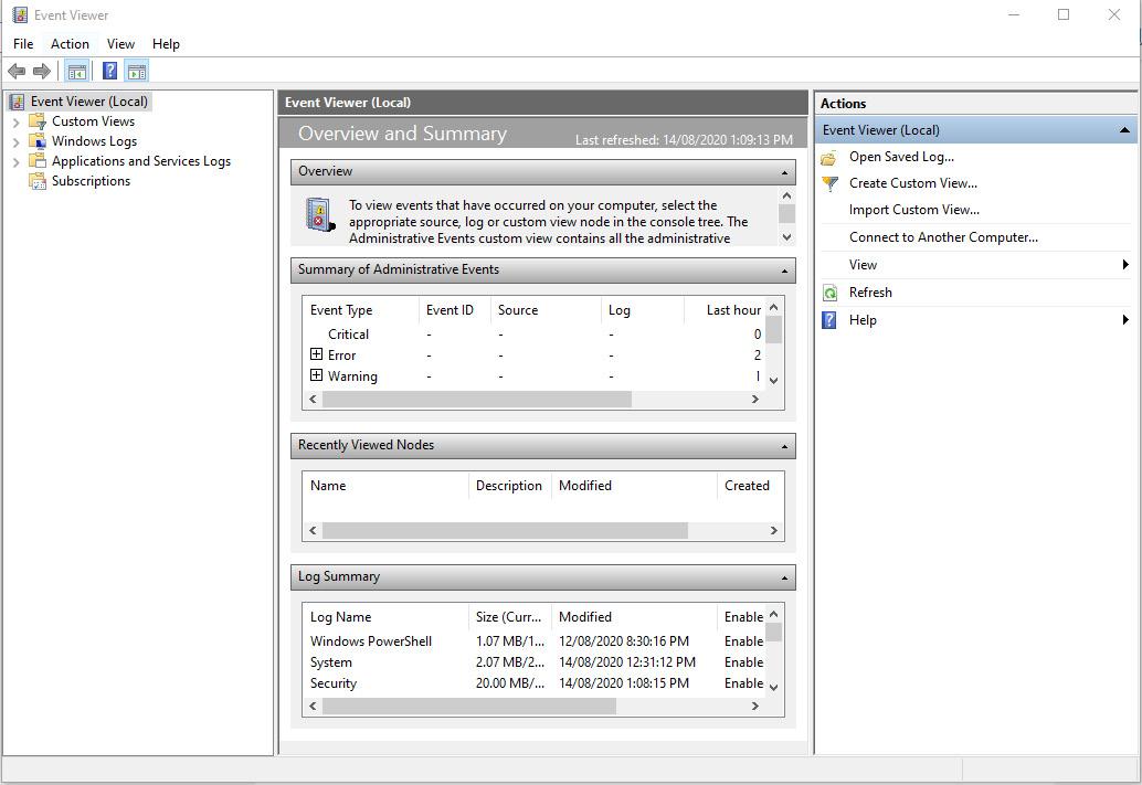 Figure 1.2 – Windows Event Viewer