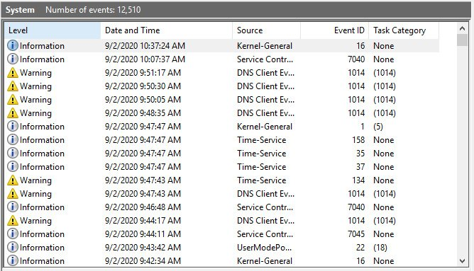 Figure 1.4 – List of events forms logs