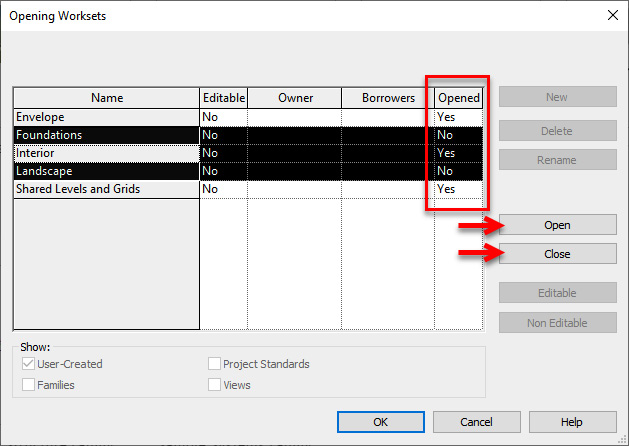 Figure 1.24 – The Opening Worksets window