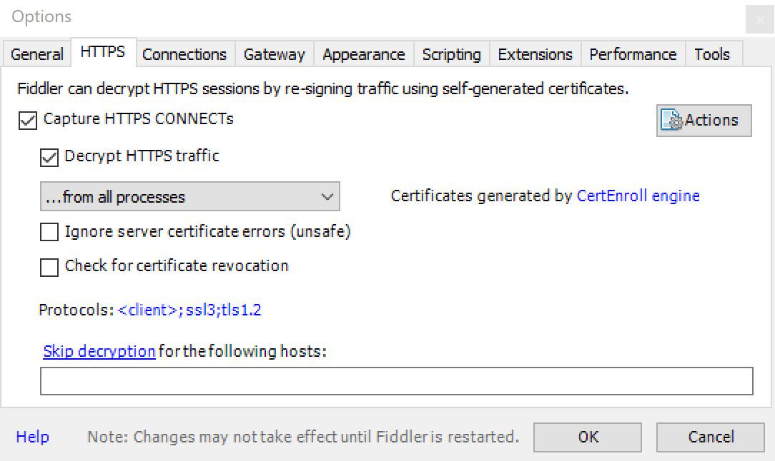 Figure 1.9 – Fiddler HTTPS capture settings