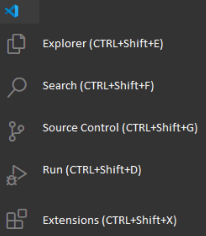 Figure 1.13 – Visual Studio Code navigation menu