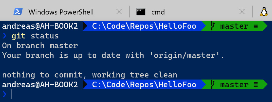 Figure 1.18 – Windows Terminal with Git support enabled