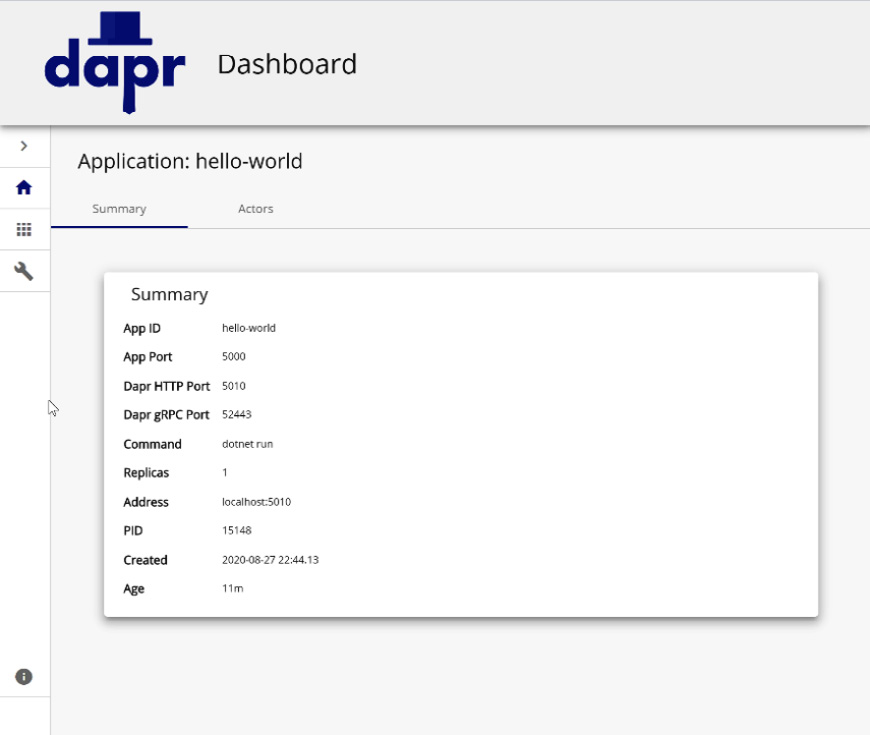 Fig. 1.3 – Dapr dashboard application