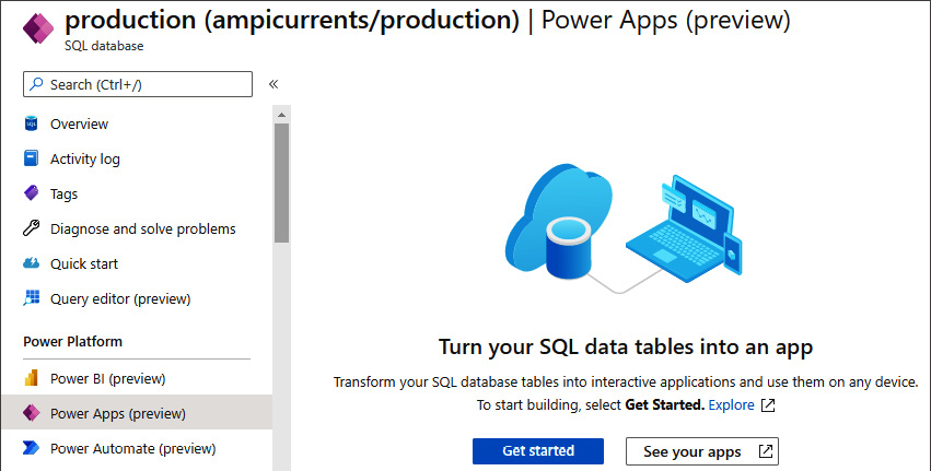 Figure 1.16 – Power Apps option in Azure