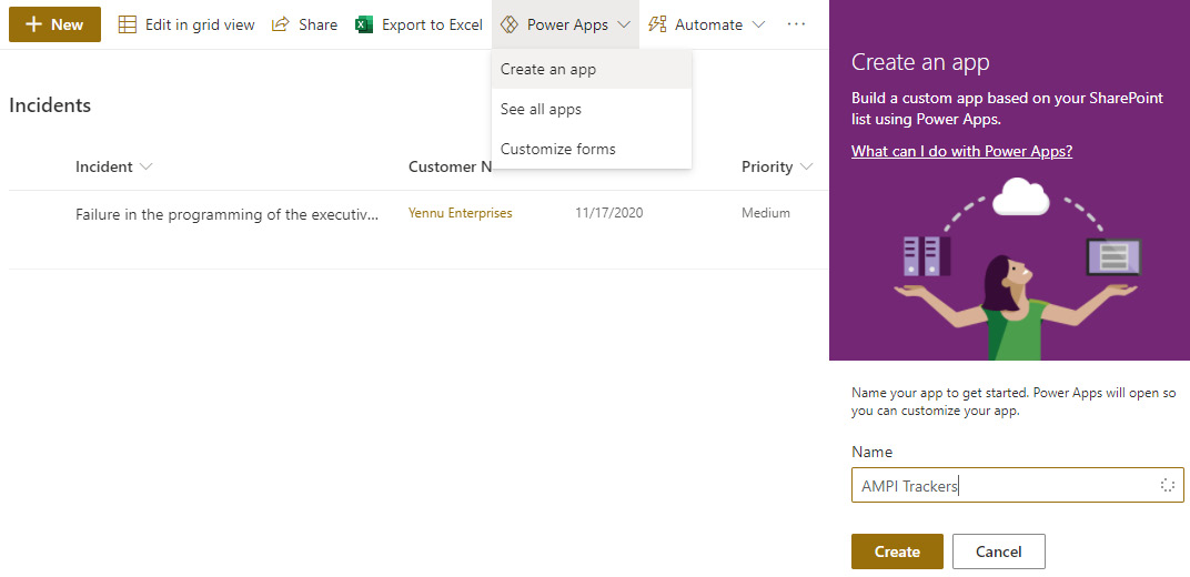 Figure 1.5 – Power Apps integration inside SharePoint