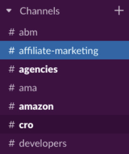 Figure 1.2 – Slack channels