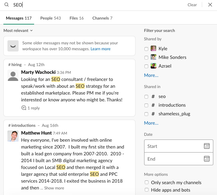 Figure 1.7 – Slack's search feature