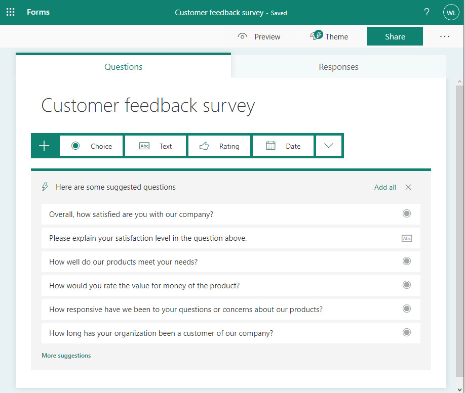 Figure 1.1 – Suggested questions for a customer feedback survey