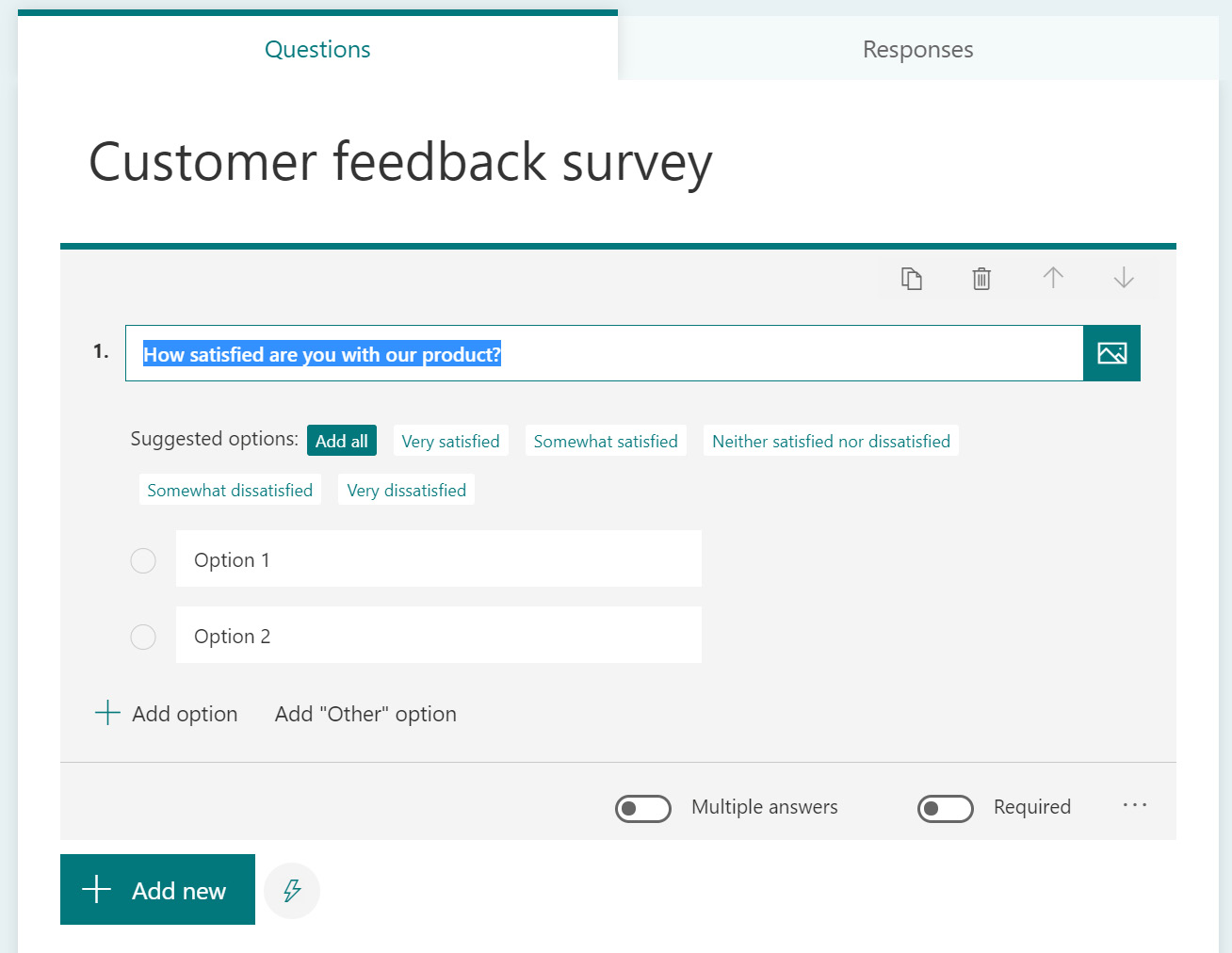 Figure 1.2 – Suggested options on a survey question
