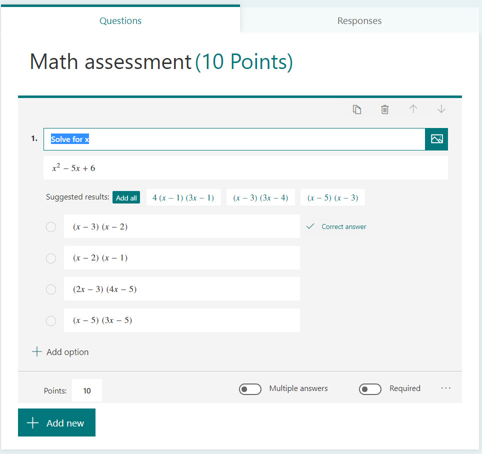 Figure 1.5 – Example of a quiz in Microsoft Forms