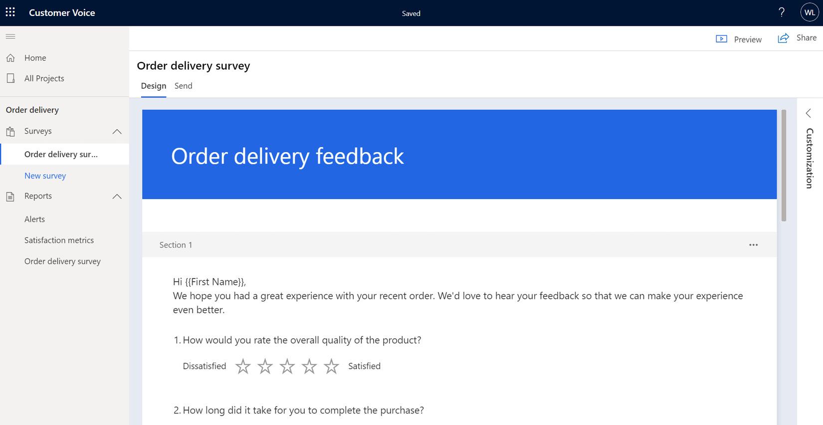 Figure 1.7 – Advanced survey authoring customization pane