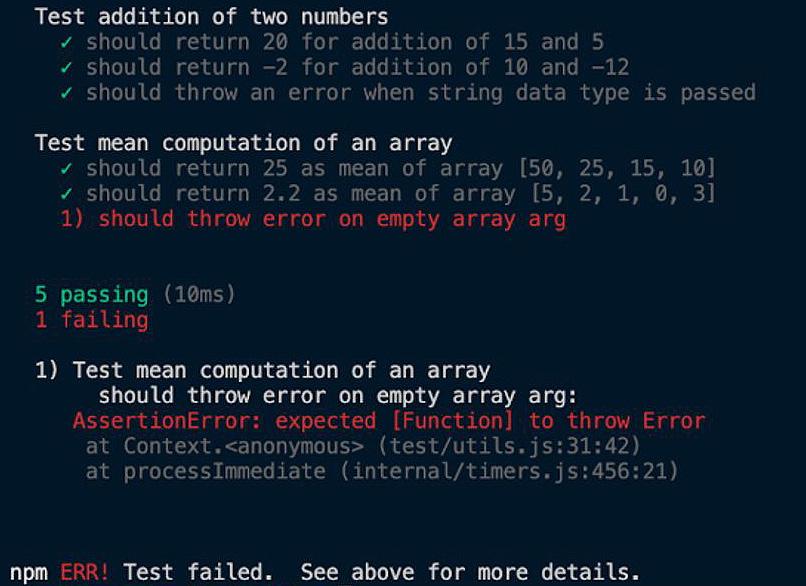 Figure 1.5 – Mocha test output showing one failed test