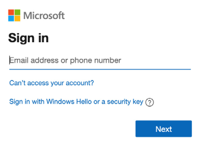Figure 1.1 – Microsoft 365 Sign in screen