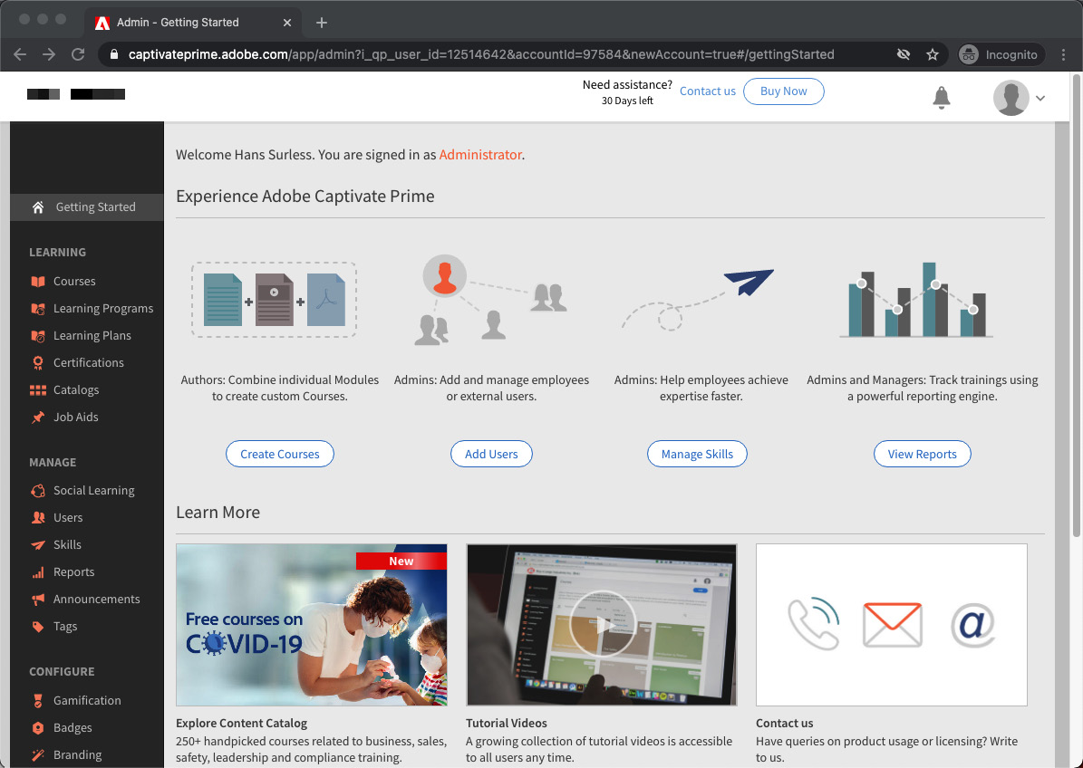 Figure 1.1 – Your first look at the Captivate Prime admin interface