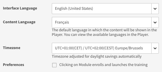 Figure 1.3 – Interface Language and Content Language drop-down lists in the Profile Settings dialog box
