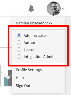 Figure 1.6 – The four default roles that are available in Captivate Prime