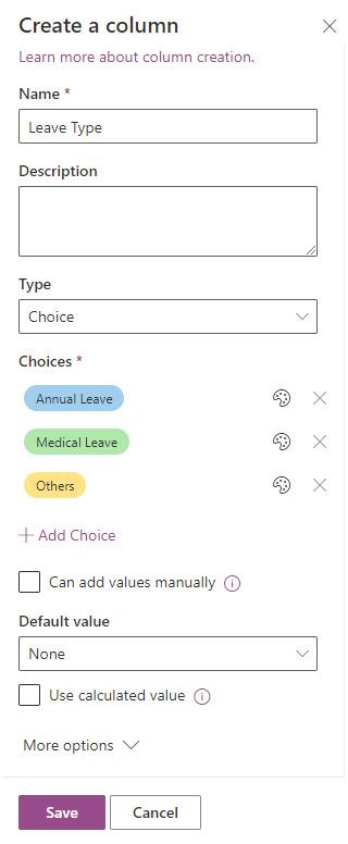 Figure 2.13 – Creating a Choice column