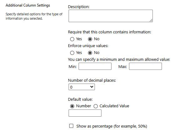 Figure 2.18 – Additional Column Settings window