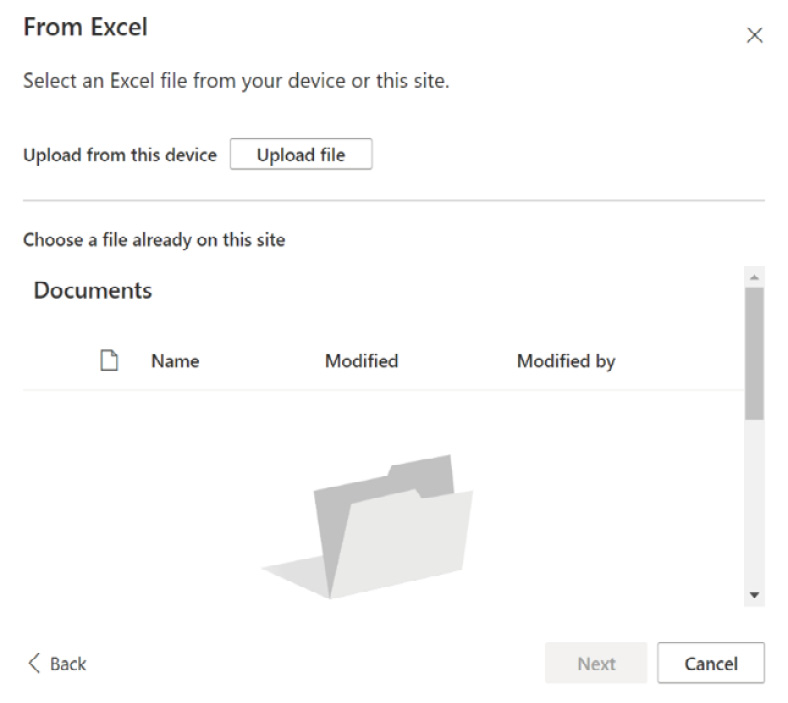 Figure 2.20 – Creating a new list from an Excel spreadsheet