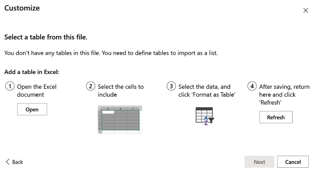 Figure 2.21 – Information dialog informing you of how to format your spreadsheet