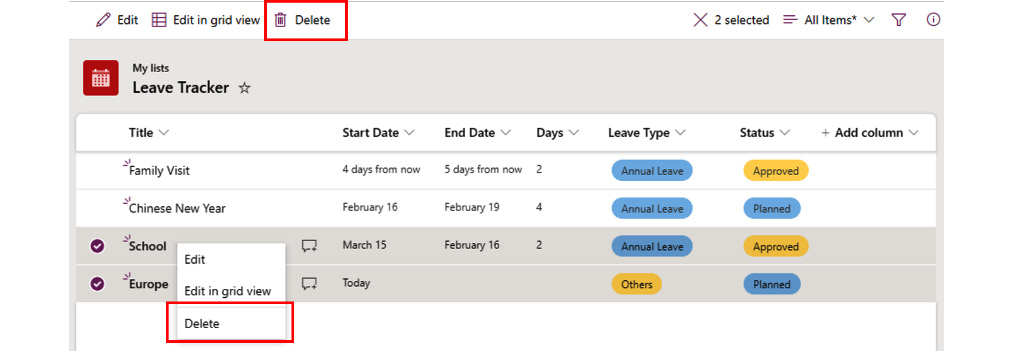 Figure 2.30 – Selecting and deleting multiple items