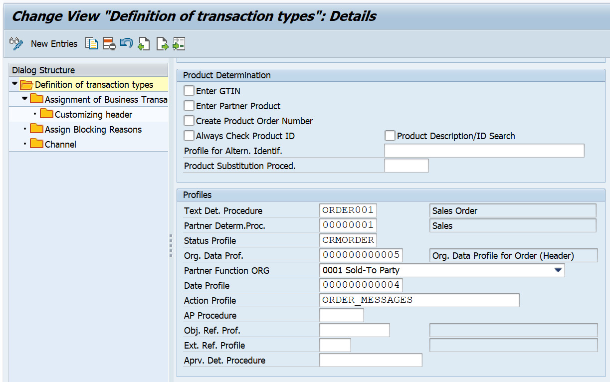 Figure 2.9 – Assigning the org data profile to the transaction type