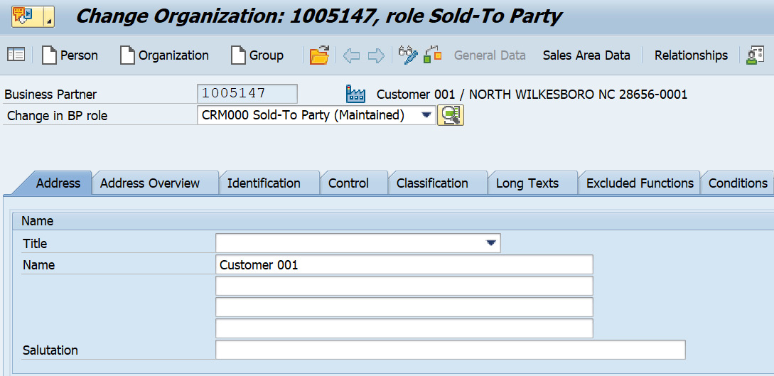 Figure 2.10 – A business partner with the Sold to Party role