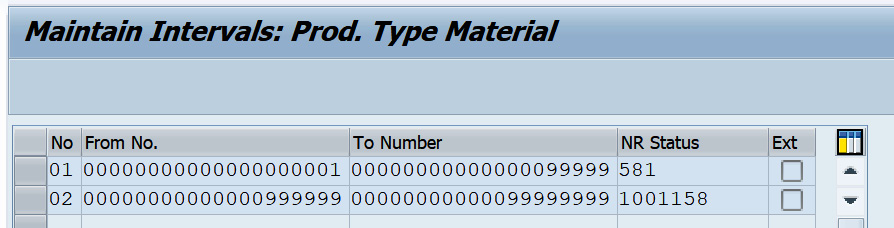 Figure 2.19 – Defining number ranges for the Material product type