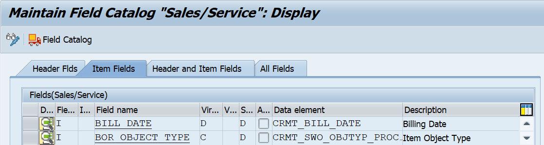 Figure 2.25 – CRM field catalog