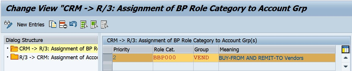 Figure 2.40 – Assignment of the business partner role category to the account group