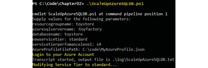 In the PowerShell window, scaling up the service tier from Basic to Standard S3