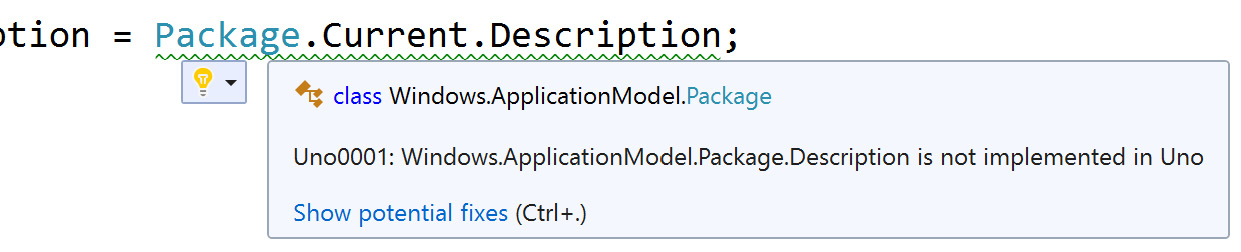 Figure 1.3 – An example of an unsupported API being indicated in Visual Studio