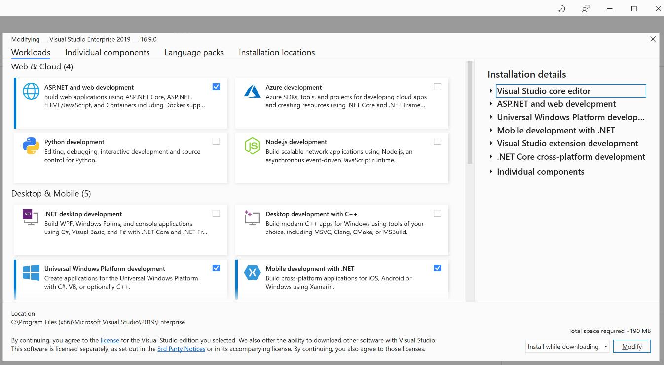 Figure 1.4 – The Visual Studio Installer showing various workload options